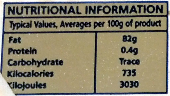 Pure Irish Creamery Butter Unsalted - Nutrition facts - en