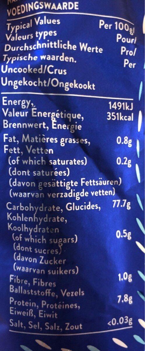 Riz Basmati 01 KG TILDA - Informação nutricional - fr