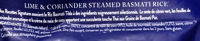 Tilda Steamed Lime and Coriander Basmati Rice - Ingrédients - fr
