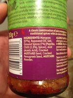 Patak's Hot Mango Pickle 283g - Ingrediënten - fr