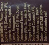 Korma Spice Paste - Ingrediënten