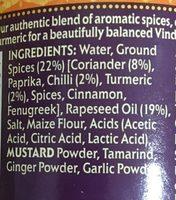Vindaloo Spice Paste - Ingrédients