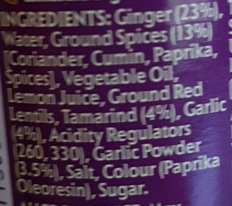 pataks tandoori - Ingredients - en