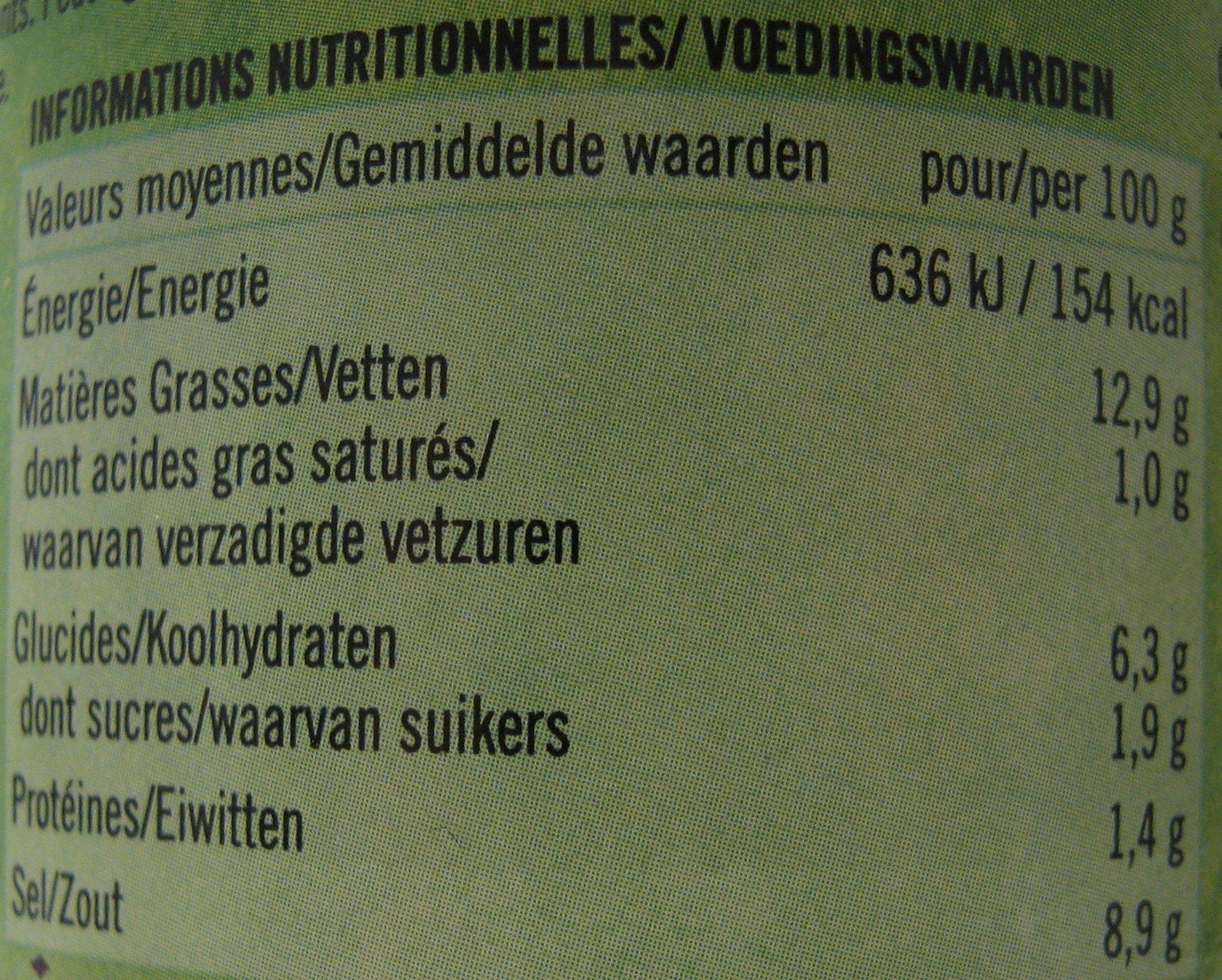Pickle mixte - Informations nutritionnelles