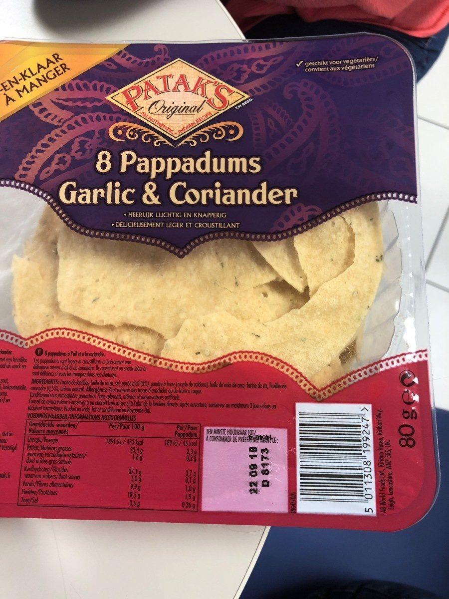 Pappadums ail et coriandre