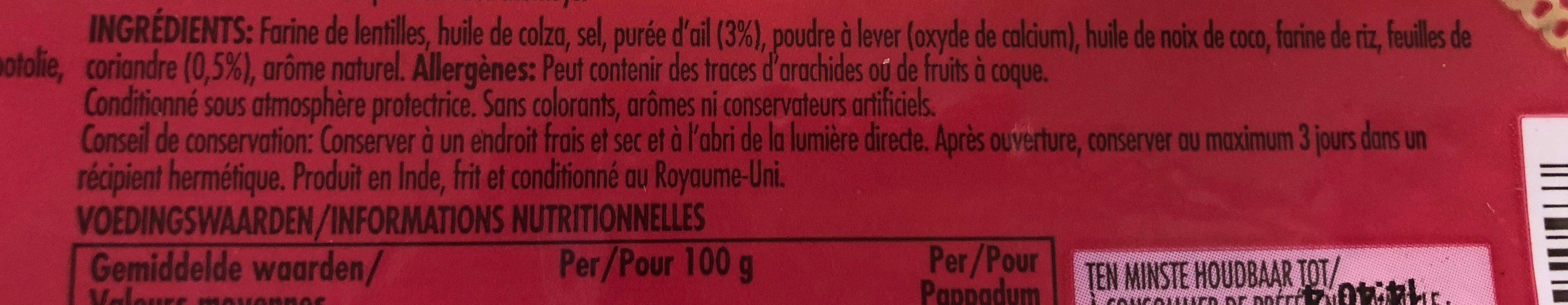 Pappadums ail et coriandre - Ingrédients - fr