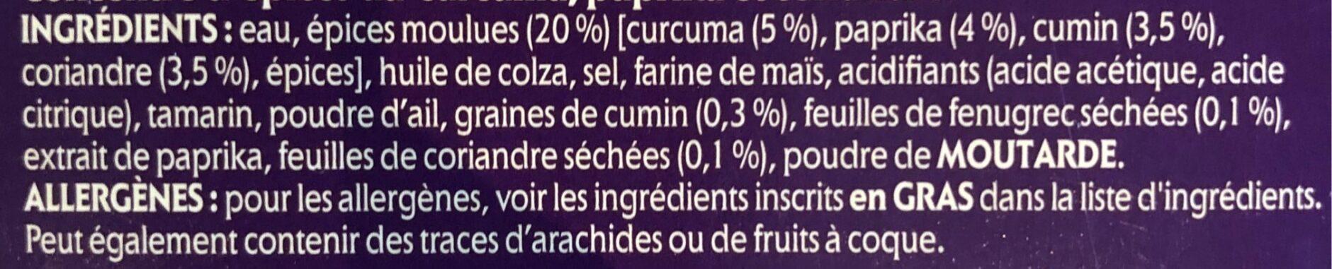 Tikka Masala - Ingrediënten - fr