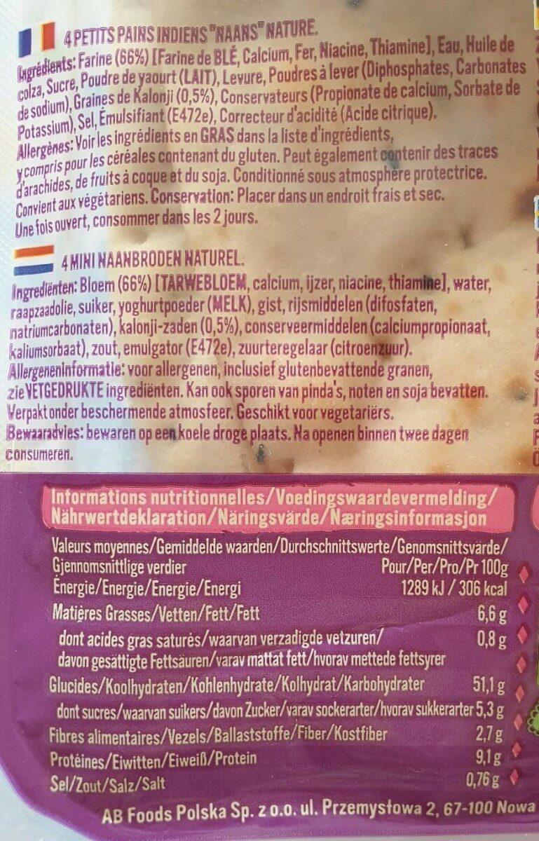 4 plain Mini Naans - Valori nutrizionali - fr
