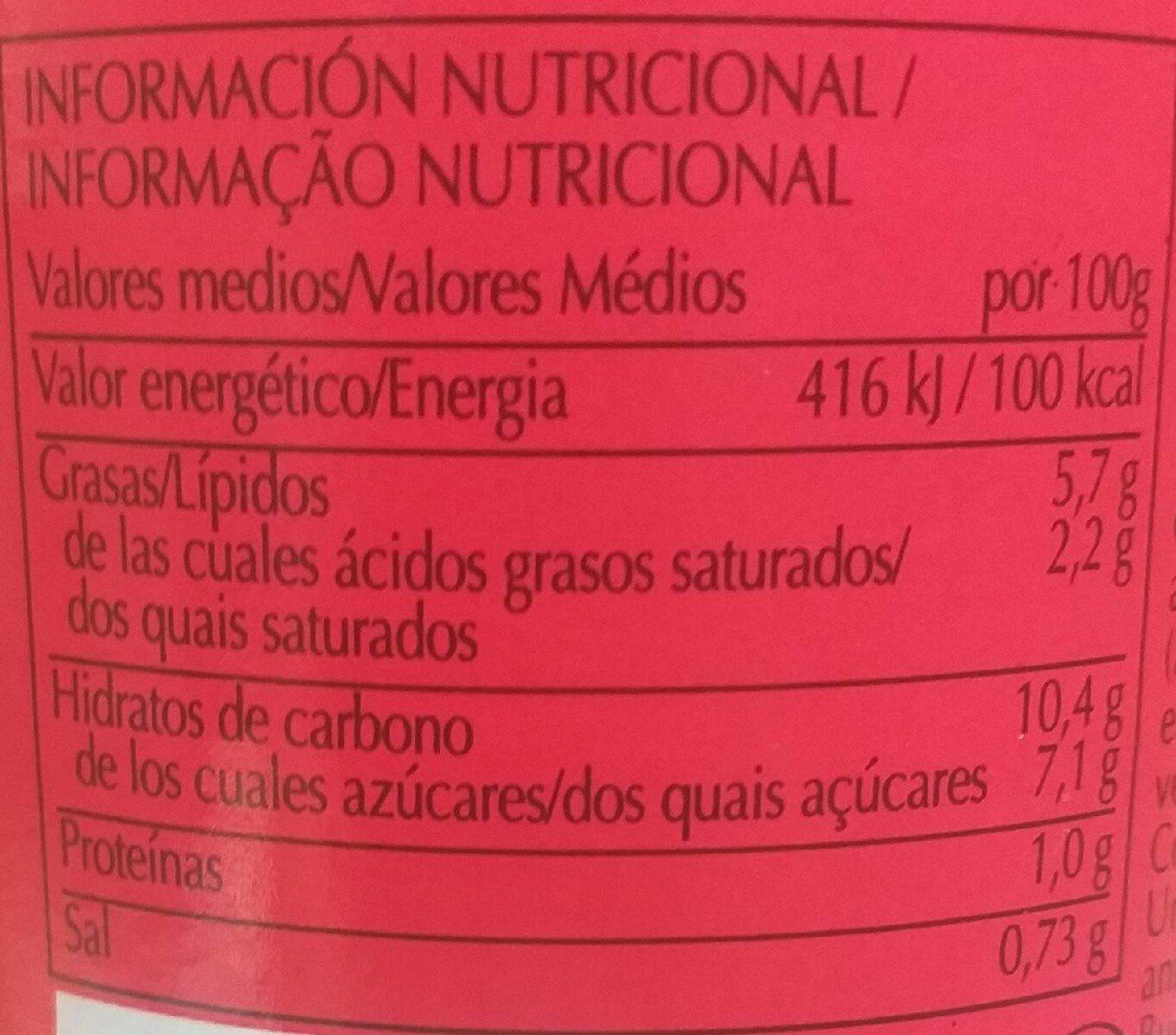 tandoori - Informació nutricional - es
