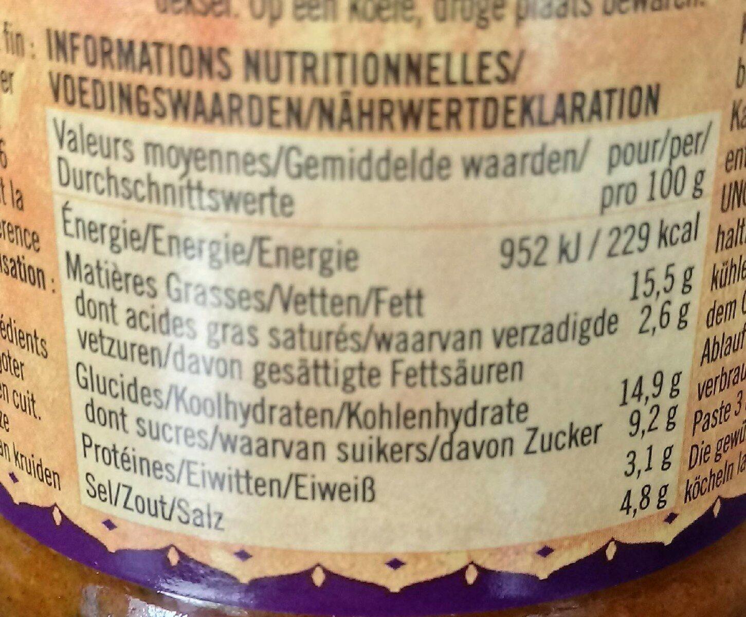 Pâte de Curry Épicée Korma - Informations nutritionnelles - fr