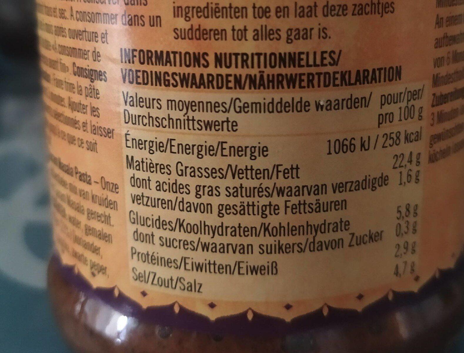 Garam Masala - Informations nutritionnelles - fr