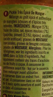 Mango Pickle Extra Scharf Patak´s 283G - Ingrédients - fr