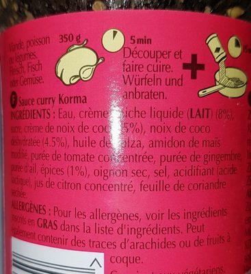 Korma Sauce Curry Indienne - Ingrediënten - fr