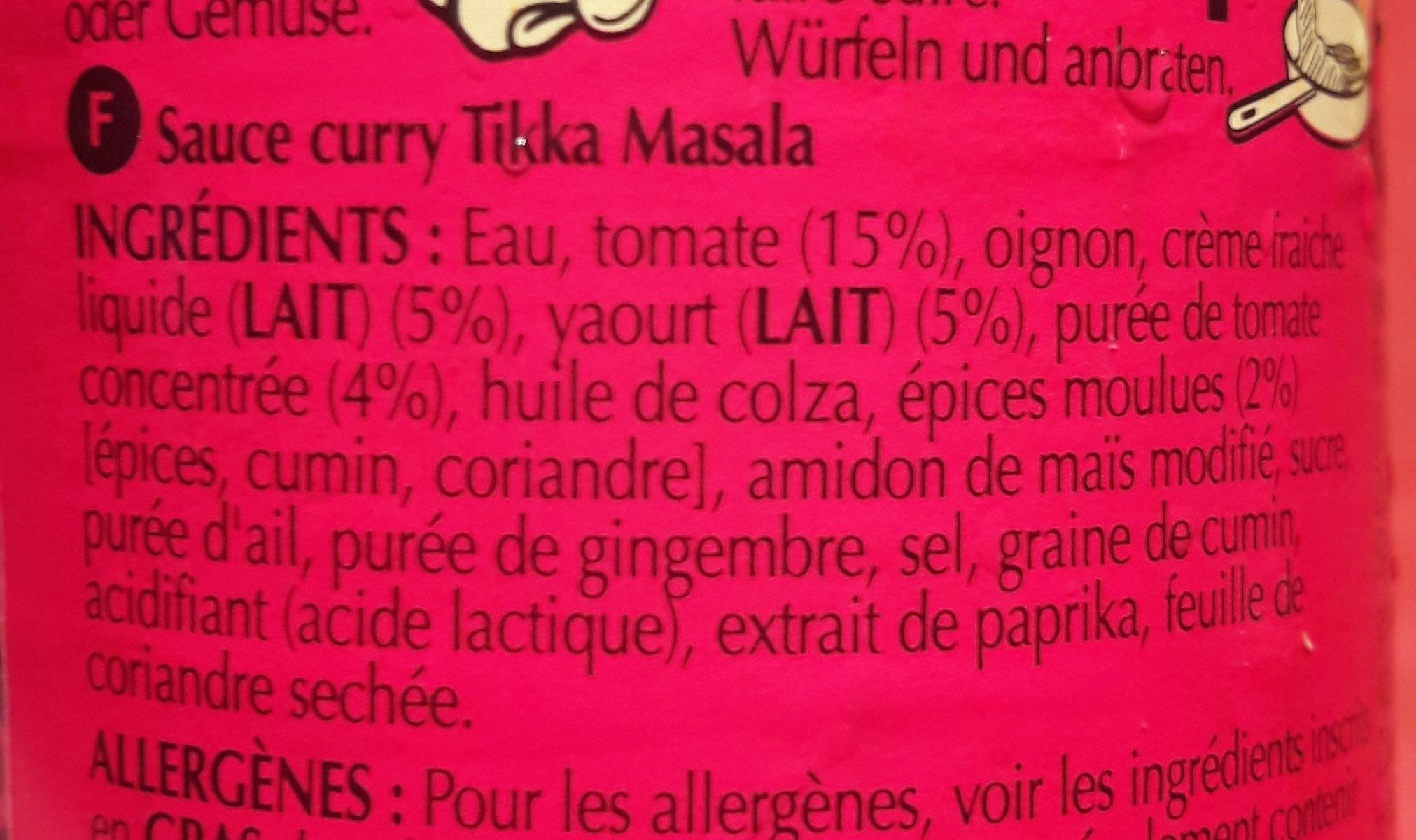 Original Tikka Masala - Ingrediënten - fr