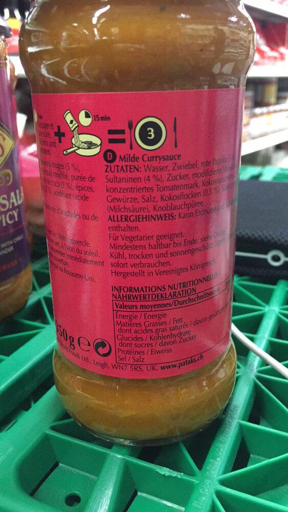 Original Mild Curry Sauce Curry Indienne - Voedingswaarden - fr