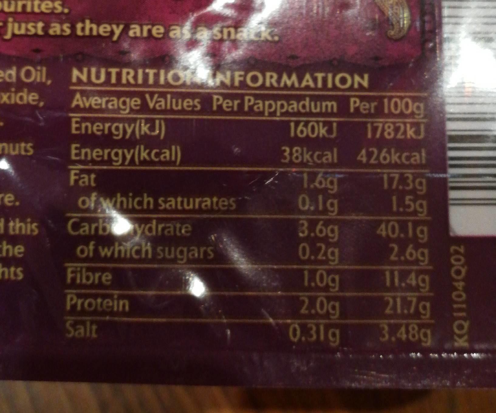 Plain Pappadums x 8 - Informations nutritionnelles - fr