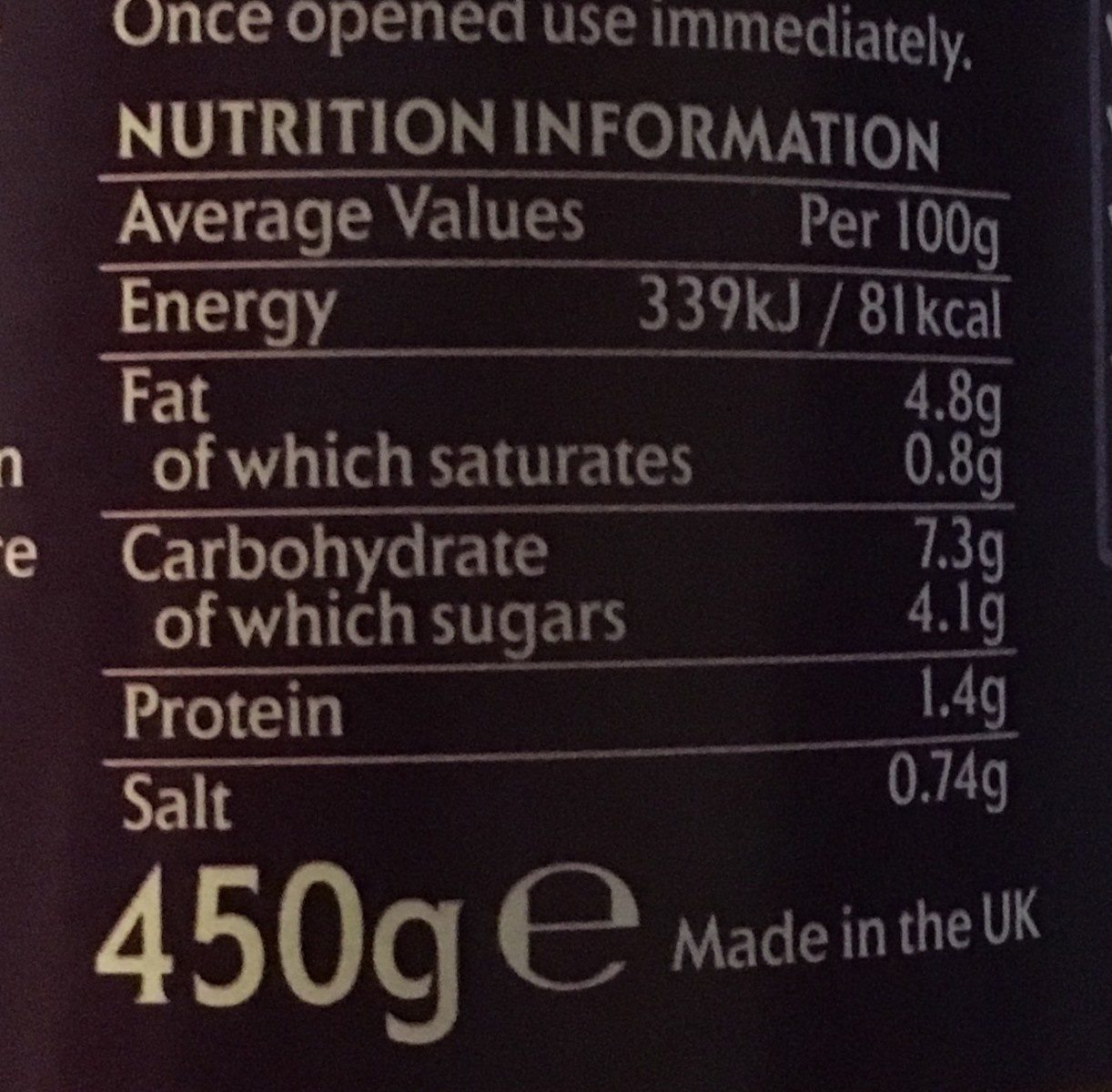 Pataks Tikka Sauce 450g - Informations nutritionnelles - fr