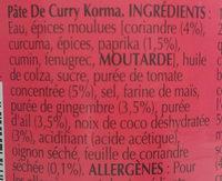 Pate de Curry Korma - Ingrédients - fr