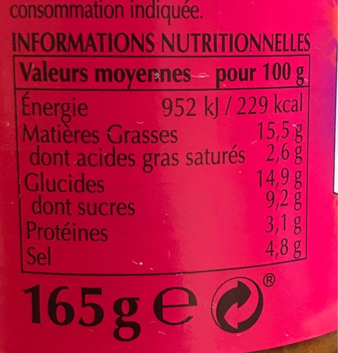 Pate de Curry Korma - Informations nutritionnelles - fr