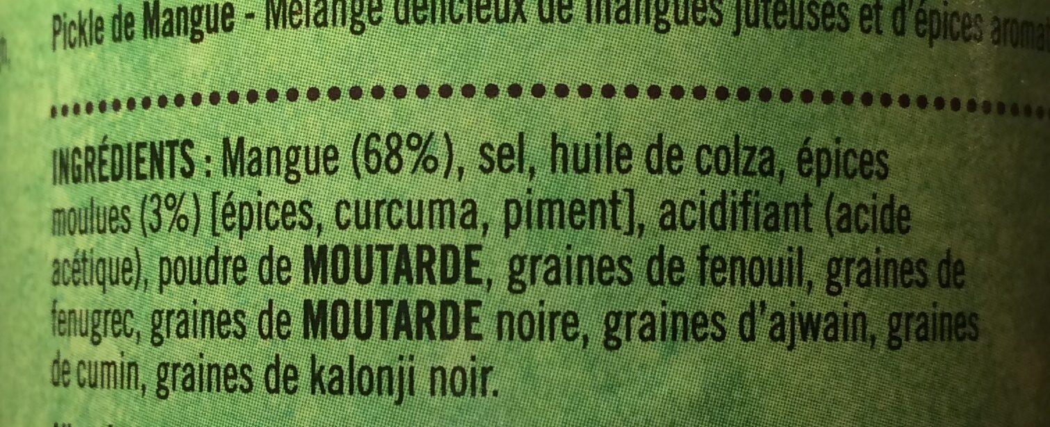 Pickle De Mangue 283G Pataks - Ingrédients - fr
