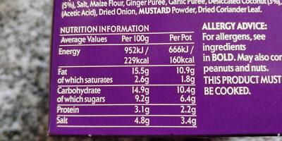 Pataks korma paste pots - Informations nutritionnelles - en