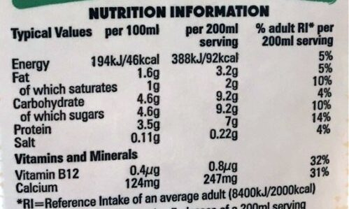 Semi-Skimmed Milk - Nutrition facts