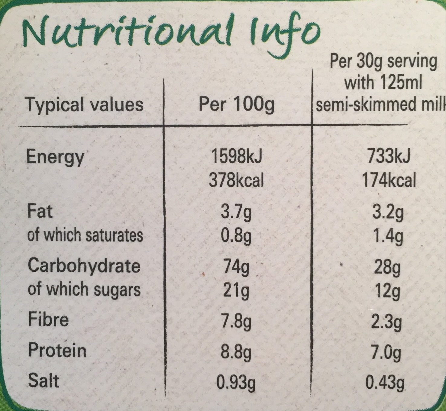 Cheerios - Nutrition facts