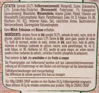 Cookies Crisp, Cerealien 0,38 KG Pro Packung - Ingredients - de