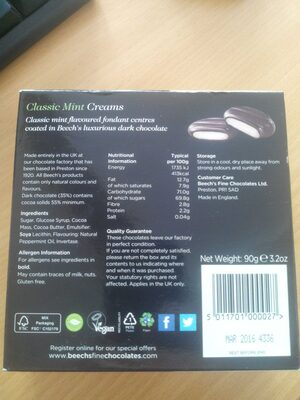 Classic Mint Creams - Ingredients