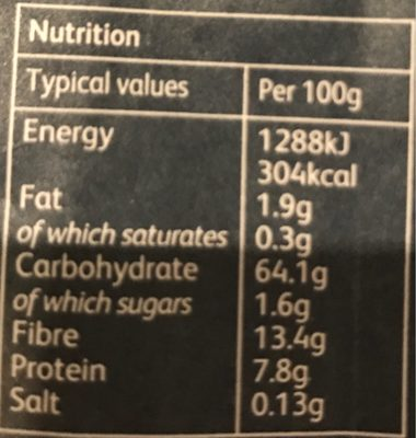 Rye Flour - Nutrition facts