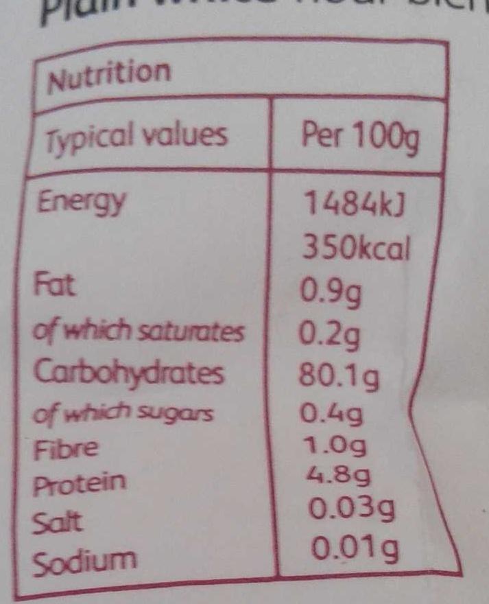 Plain white flour blend - Voedingswaarden