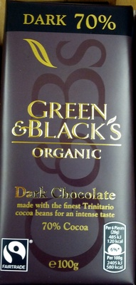 Green & black's organic chocolate bar 70% dark - Product - en