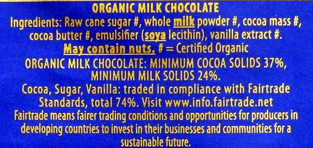 Green & black's organic chocolate bar milk chocolate - Ingredients - en