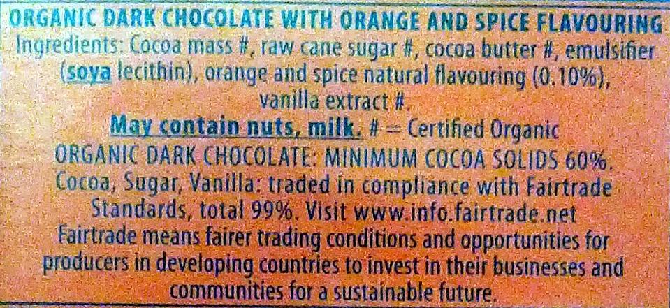 Green & black's organic chocolate bar maya gold - Ingredients - en