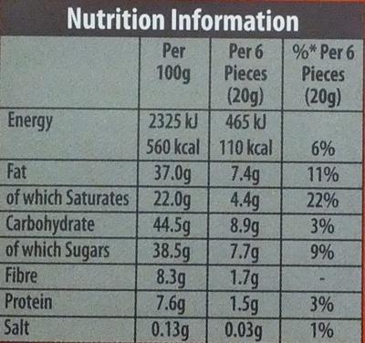 Green & black's organic chocolate bar maya gold - Nutrition facts