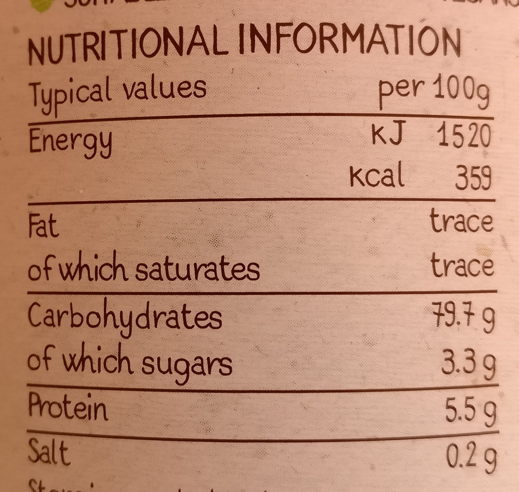 Organic No Caf Coffee Alternative - Nutrition facts - en
