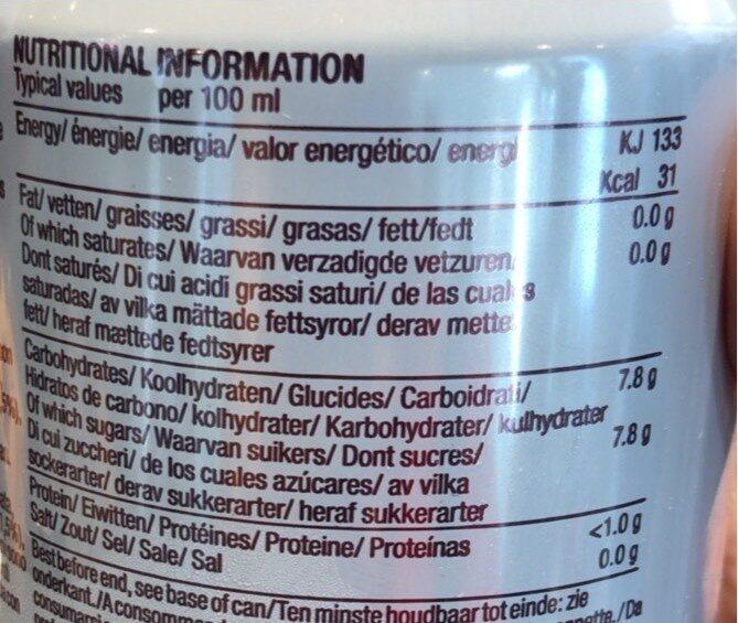 Organic sparkling cola - Nutrition facts - en