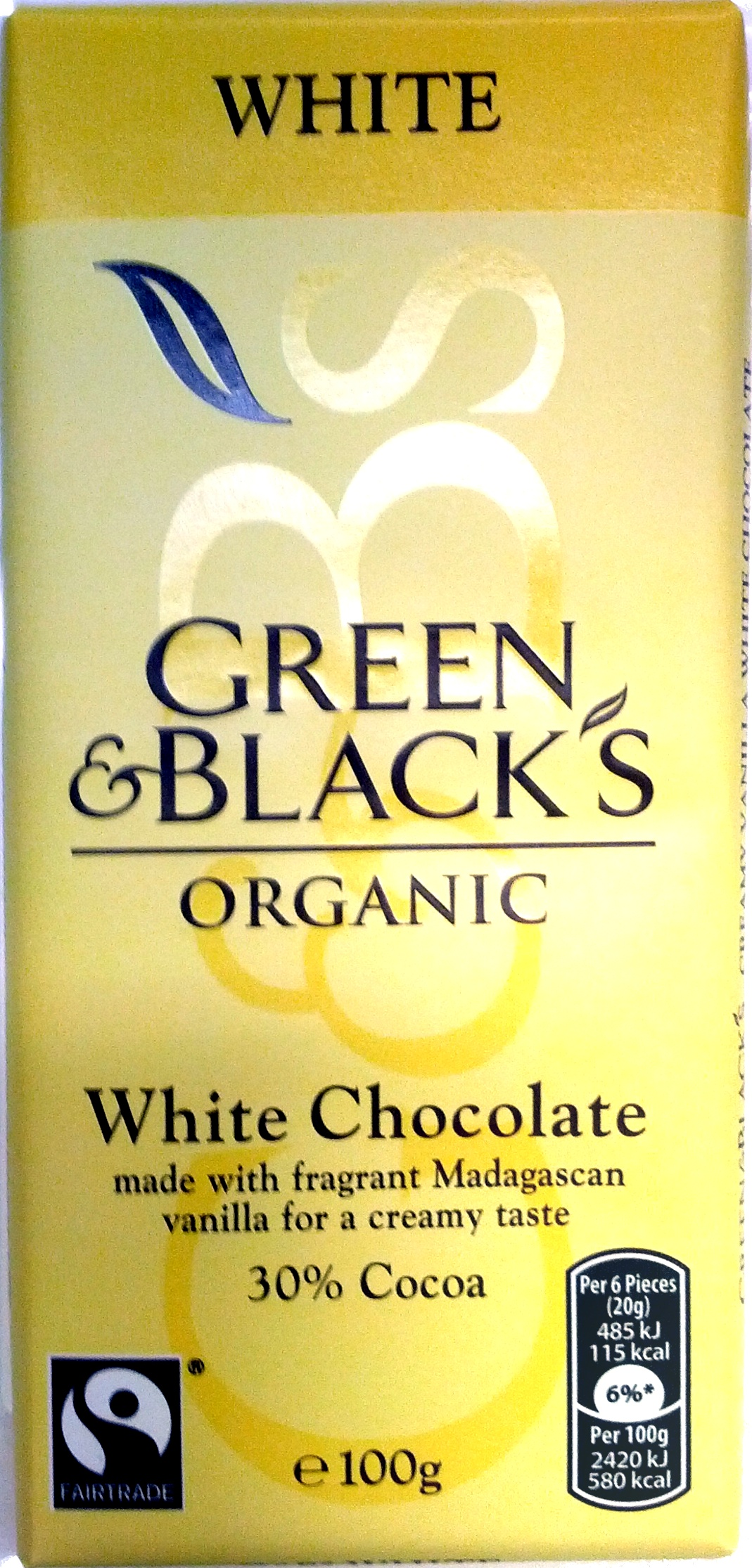 Green & black's organic chocolate bar white - Product - en
