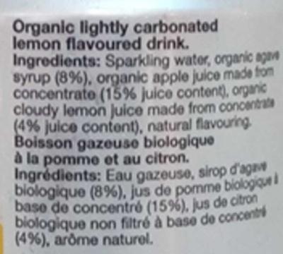 Organic Sparkling Lemonade - Ingrédients - fr