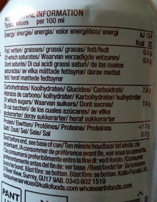 Organic Sparkling Lemonade - Voedingswaarden
