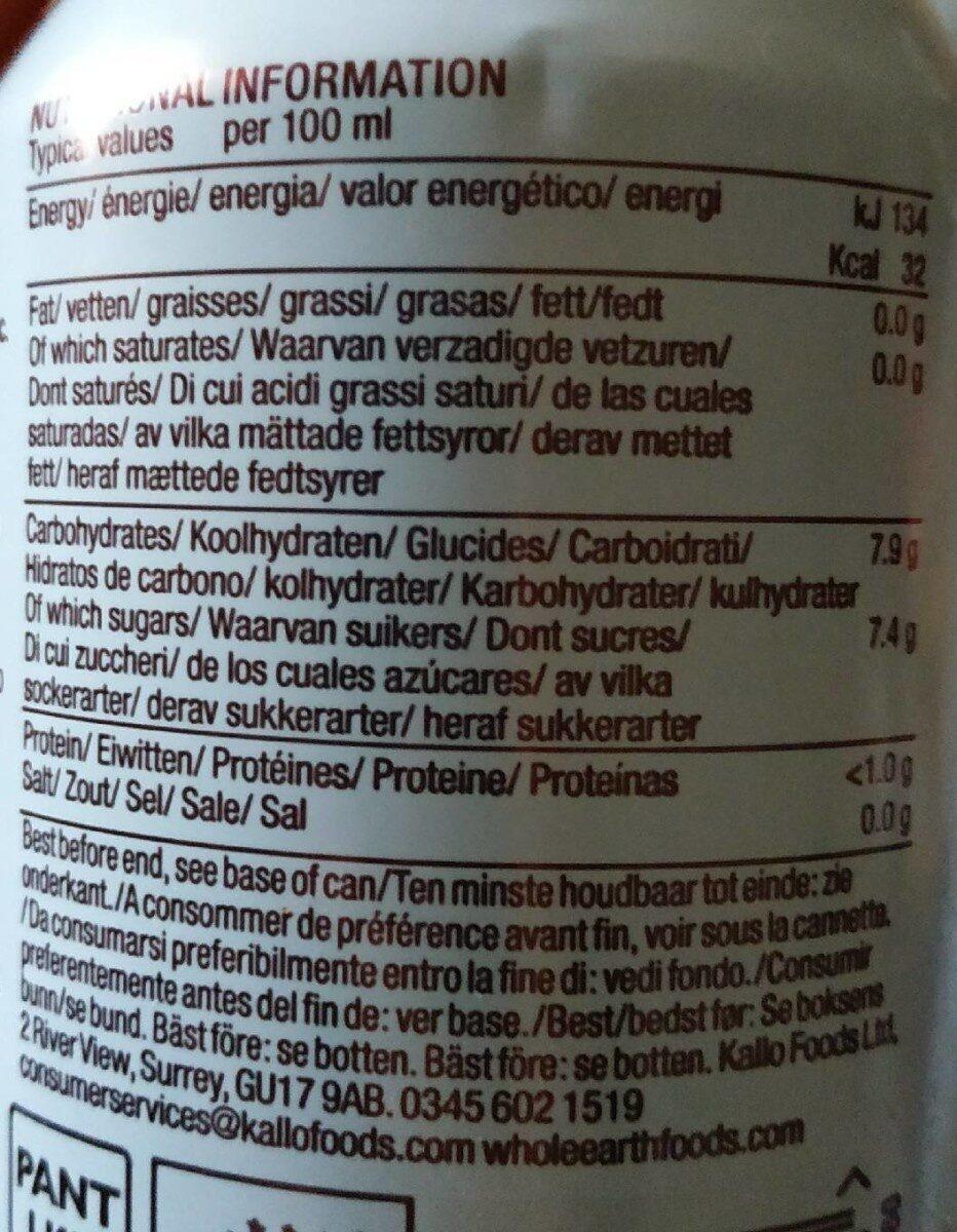 Organic Sparkling Lemonade - Nutrition facts - fr