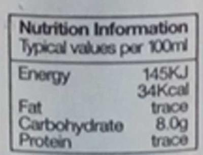 Limonada sin azúcar ecológica - Voedigswaarden