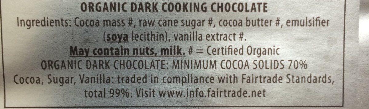 Black's Organic Cooking Dark Chocolate Bar - Ingredients - en