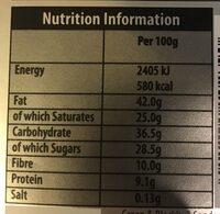 Black's Organic Cooking Dark Chocolate Bar - Nutrition facts - en