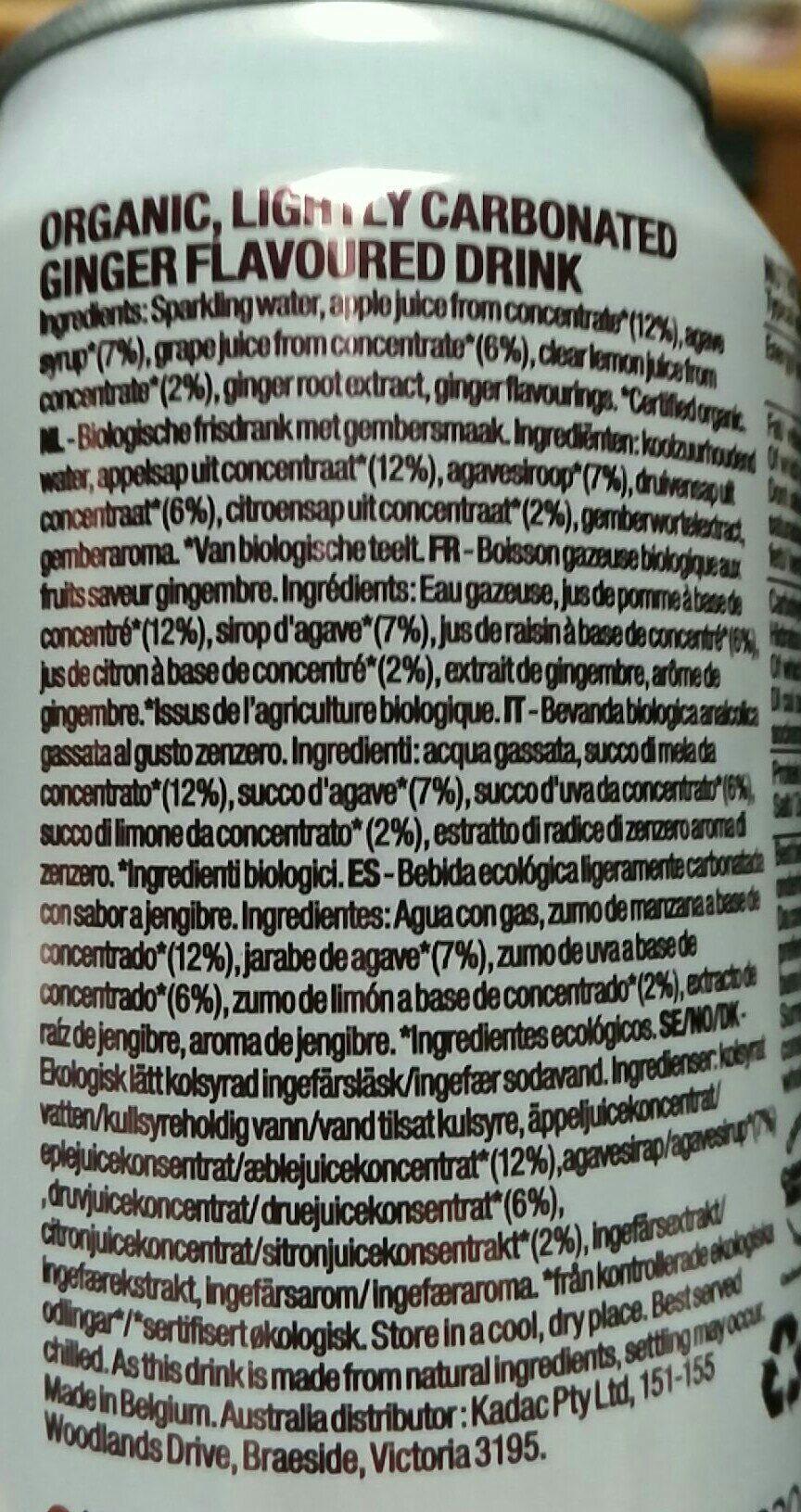 Organic Sparkling Ginger - Ingredients