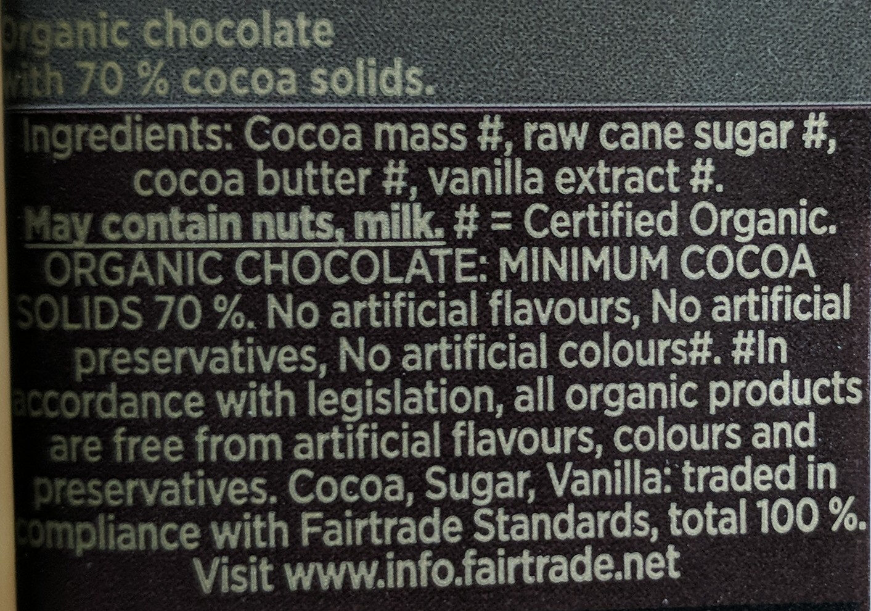 Green & black's organic chocolate bar 70% dark - Ingredients - en