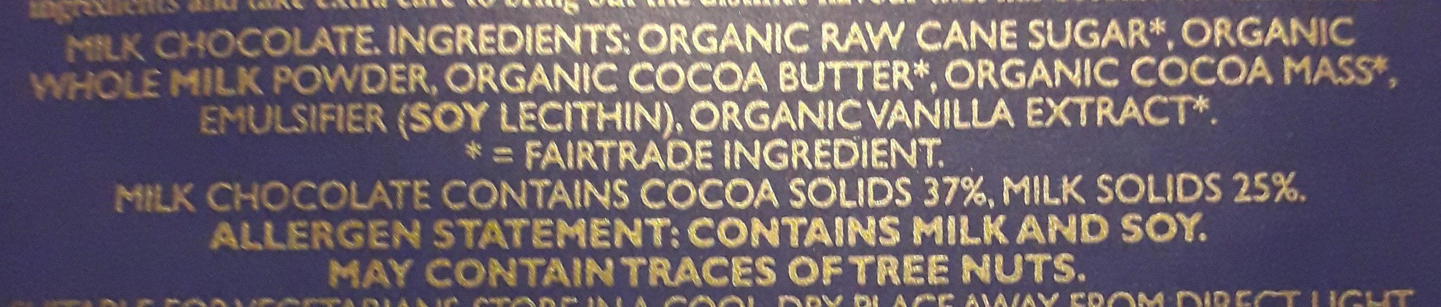 Green & Black's Organic Milk Chocolate - Ingrediënten - en