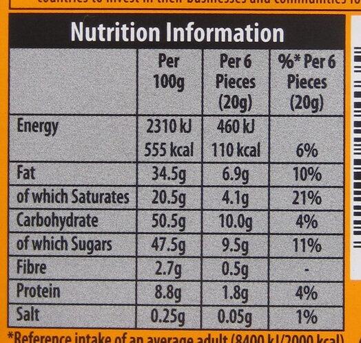 Black's Organic Butterscotch Milk Chocolate Bar - Nutrition facts - en