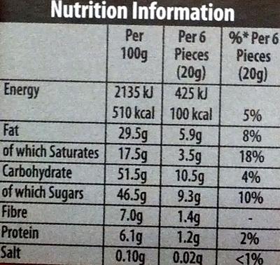 Green & black's organic chocolate bar ginger - Informations nutritionnelles - en