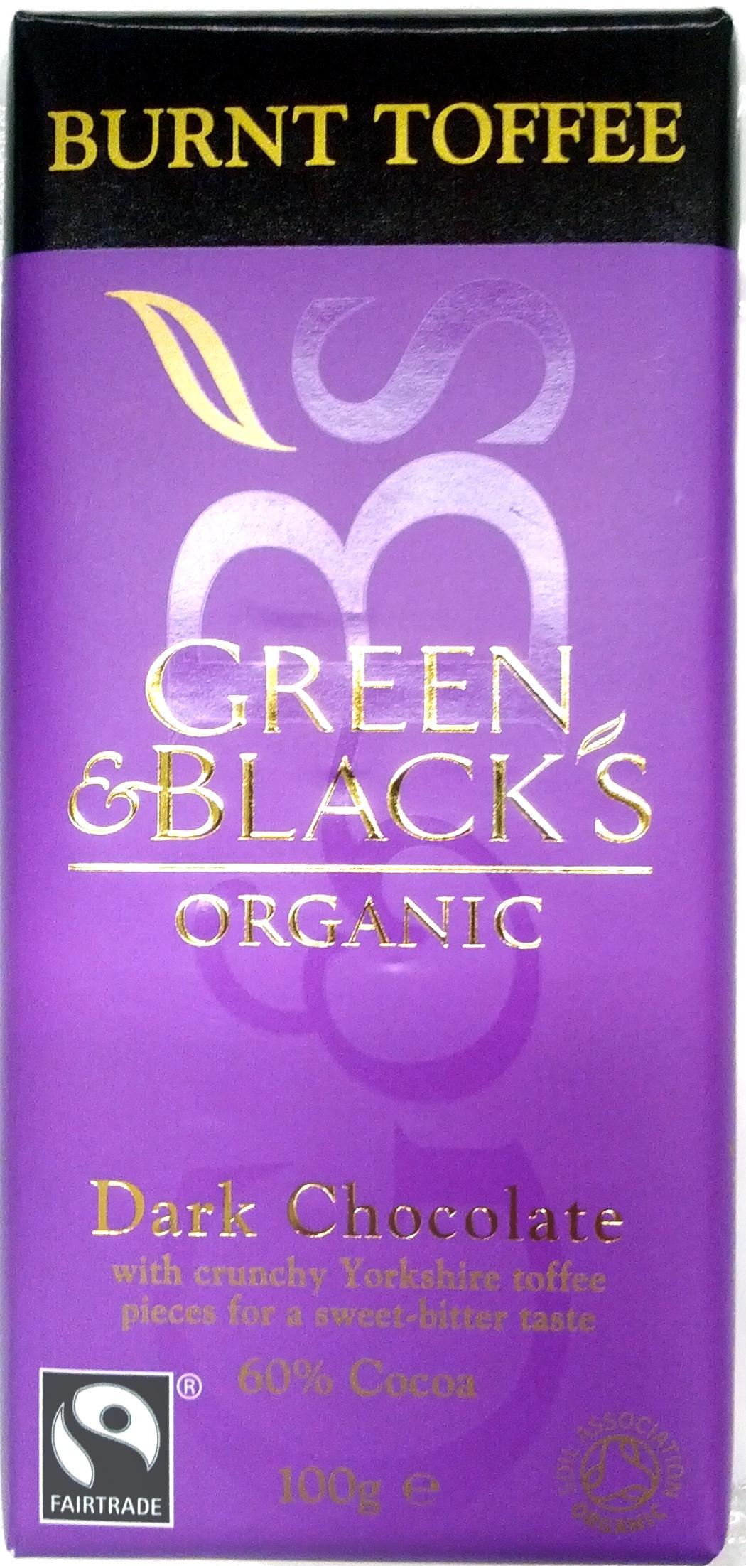 Green & black's organic chocolate bar dark with toffee - Product - en